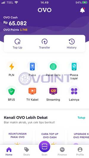 Klik Menu Top Up