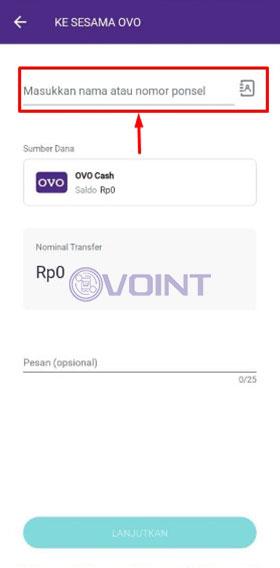 Masukkan Nomor OVO Grab Tujuan