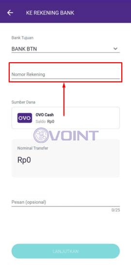 Masukkan Nomor Rekening Bank BTN