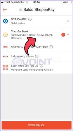 4 Pilih Bank Transfer