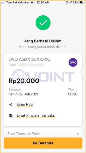 Top Up OVO Lewat Bank Jago Berhasil
