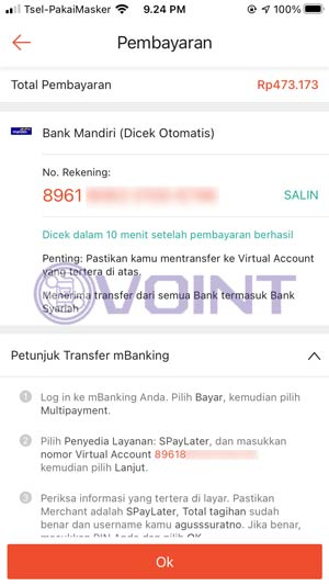 Salin atau Copy Kode Pembayaran